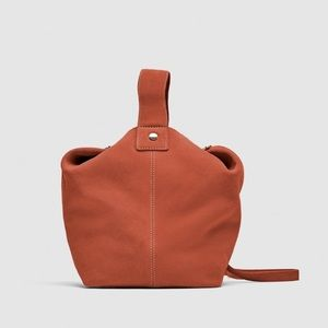 ⚡️SALE NWT Zara Leather Bucket Bag